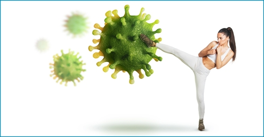 Virus attack; defend from the virus concept;