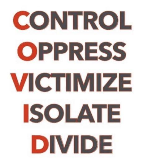 message-covid-control-oppress-victimize-isolate-divide